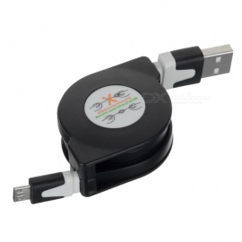 USB 2.0 to Micro USB Retractable Data Charging Cable - Black + White