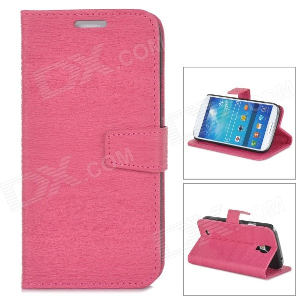 Stylish Flip-Open PU Leather Case w/ Card Slots / Stand for Samsung Galaxy i9500 / S4 - Deep Pink bamboo pattern protective pu flip open case w stand for samsung s4 mini deep brown