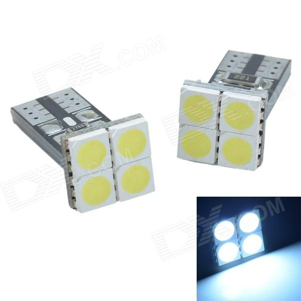T10 1.2W 48lm 4 x SMD 5050 LED White Light Decoding Car Reading Lamp / Headlamp - (DC 12V / 2 PCS) highlight h3 12w 600lm 4 smd 7060 led white light car headlamp foglight dc 12v