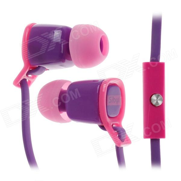 Sibyl V-2 Mega Bass In-Ear Earphones w/ Microphone - Purple + Pink (3.5mm Plug / 112cm-Cable)