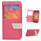 DiscoveryBuy Stylish Flip-Open PU Case w/ Stand for Samsung Galaxy Note 3 - Deep Pink
