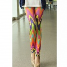 Dear Lover Candy Color Wavy Tie Dye High Quality Leggings - Orange (Free Size)