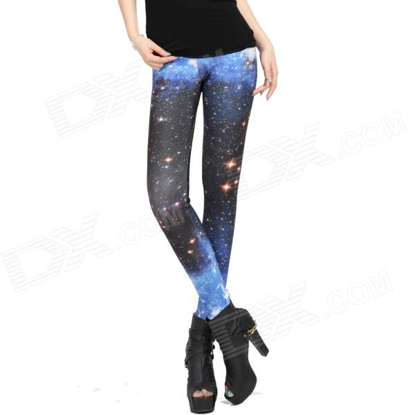 Bright Star Digital Painting Tight Leggings - Multicolor (Free Size)