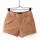 High Quality Fully Lined Thickening Cashmere Women's Short Pants - Khaki (Size-L)