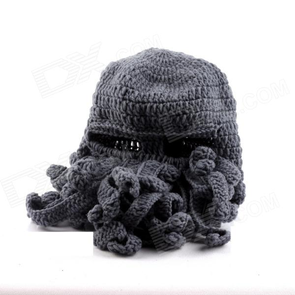 PANNOVO Hand-made Cute Octopus Outdoor Thermal Windproof Caddice Balaclava Helmet Cap Hats - Grey