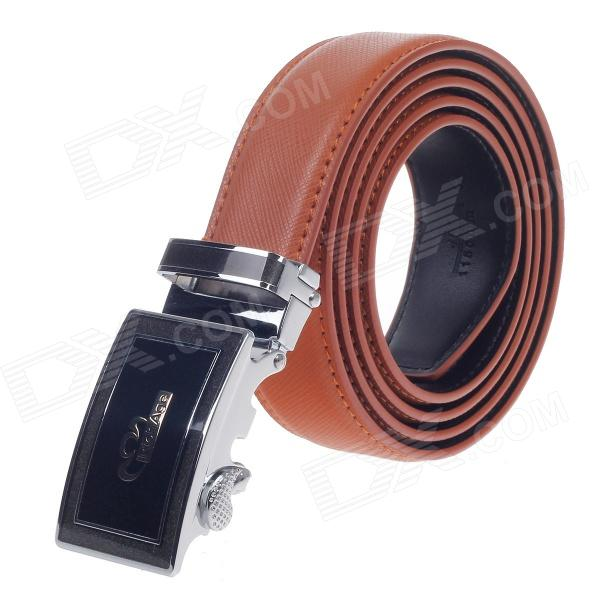 Rich Age Stylish Cross Pattern Men's Cow Split Leather Belt w/ Zinc Alloy Automatic Buckle - Brown pouchkan stylish cow leather men s belt with zinc alloy buckle black