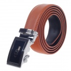 Rich Age Stylish Cross Pattern Men's Cow Split Leather Belt w/ Zinc Alloy Automatic Buckle - Brown