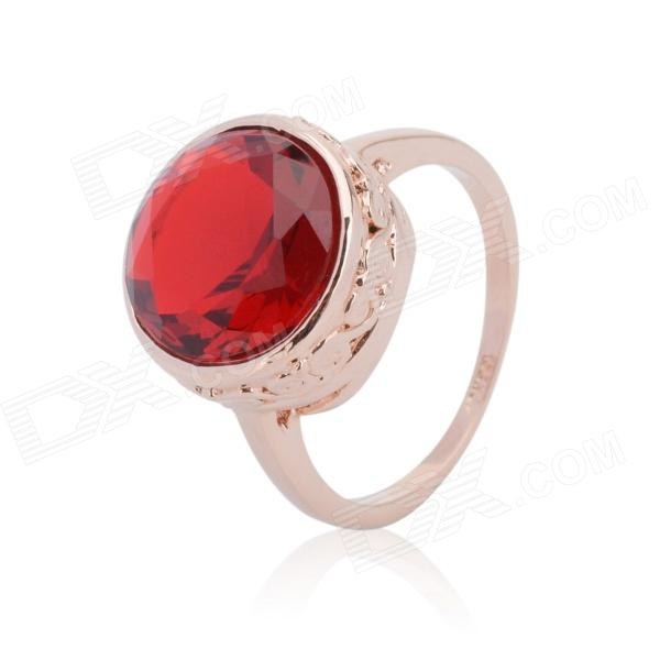 KCCHSTAR 18K Gold Plating Crystal Women's Ring - Golden + Red (US Size-8)