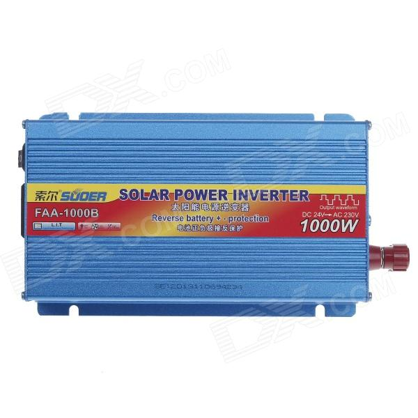 SUOER FAA-1000B 1000W DC 24V to AC 230V Solar Power Inverter w/ Reverse Battery +/- Protection