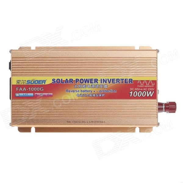 SUOER 1000W DC 60V to AC 230V Solar Power Inverter w/ Reverse Battery+/- Protection - Coffee Golden