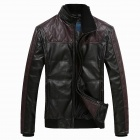 Fashionable Men's Thicken PU Leather Coat - Black + Brown (Size-L)