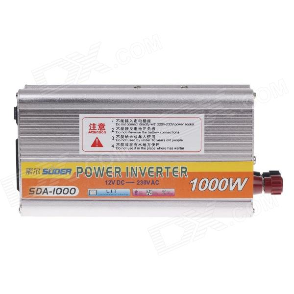 SUOER SDA-1000 1000W DC 12V to AC 230V Solar Power Inverter - Silver
