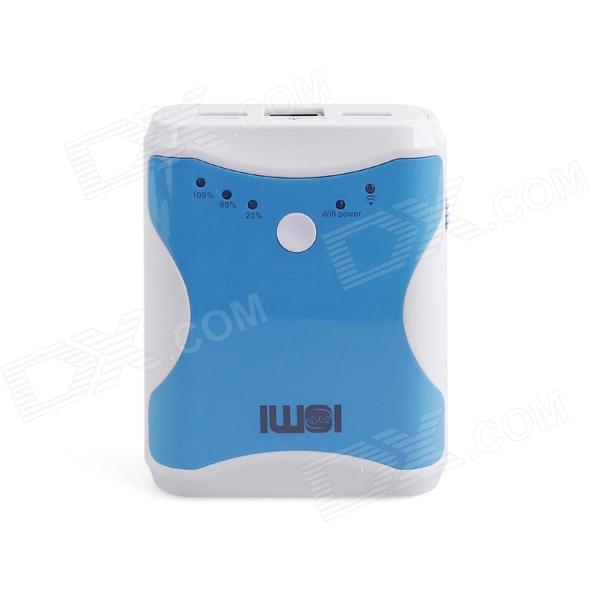 IWOI WP300 plug-and-Play Portable 3-in-1 Card Reader / Mobile Power / Routeur sans fil - Blanc + Bleu