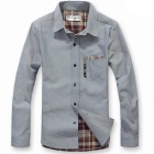 Men's Casual Slim Plaid Long-sleeved Cotton Shirt - Light Gray (Size-L)