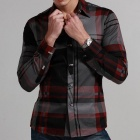 Stylish Men's Slim Cotton Shirt - Red + Gray (Size-L)