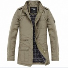 Gusskater Stylish Men's Slim Collar Jacket - Khaki (Size-L)