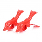 Creative Dolphin Style Tower Clips - Red + White (2 PCS)