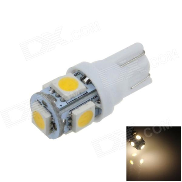 T10 / W5W 1W 100lm 5 x SMD 5050 LED Warm White Car Side Light / Instrument / Reading lamp - (12V) carprie super drop ship new 2 x canbus error free white t10 5 smd 5050 w5w 194 16 interior led bulbs mar713
