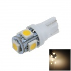 T10 / W5W 1W 100lm 5 x SMD 5050 LED Warm White Car Side Light / Instrument / Reading lamp - (12V)