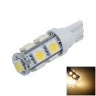 T10 / 194 / W5W 2W 200lm 9 x SMD 5050 LED Warm White Car Side Light / Signal / Reading lamp - (12V)