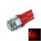 T10 / 194 / W5W 1W 100lm 5 x SMD 5050 LED Red Car Side Light / Instrument / Reading lamp - (12V)