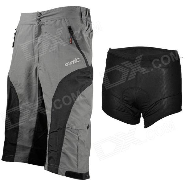 Santic MC05043 Men's Cycling Quick Dry Pants w/ Underwear - Black + Grey (Size XL)