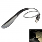 0.8W 95lm 5600K 16-LED USB Powered White Light Flexible Neck Lamp for Computer - Black + Silver