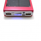 "Universal Dual-USB ""13800mAh"" Solar Energy Powered Power Source Bank - Red + White"