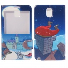 Christmas Pattern PU Leather Case Stand w/ Auto Sleep Cover for Samsung Galaxy Note 3 - Blue
