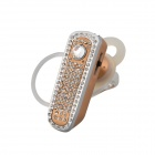 SAENKDEA 668 Bluetooth V3. 0 Stylish Diamond-studded Music Bluetooth Headset -Champagne Gold+ Silver