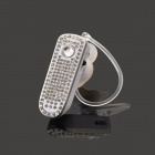 SAENKDEA 668 Bluetooth V3. 0 Stylish Diamond-studded Music Bluetooth Headset - White + Silver