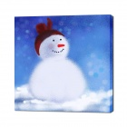 Iarts DXA 1216-01 Handmade Snowman Wall Art Oil Painting - Blue + White + Red