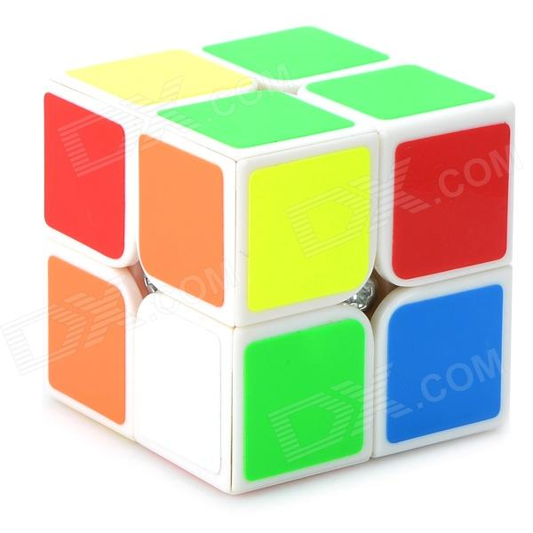 YJ YJ83208 Plastic Rubik's Cube Magic Cube Toy - White + Orange shengshou cube 2 x 2 x 2 mini cube black base fun educational toy