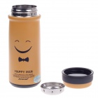 JINFENG The Smiling Face Stainless Steel Thermos Cup With Filter - Yellow + Black (320ml)