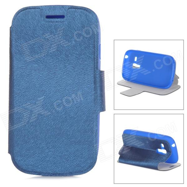 Protective PU Leather +TPU Flip-open Case w/ Holder for Samsung Galaxy S3 Mini i8190 - Blue