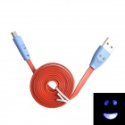 Smile Face Pattern Flat USB 2.0 Male to Micro USB Male Data Sync / Charging Cable - Orange + Blue