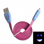 Smile Face Pattern Flat USB 2.0 Male to Micro USB Male Data Sync / Charging Cable - Deep Pink + Blue