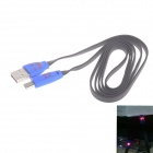 Smile Face Pattern Flat USB 2.0 Male to Micro USB Male Data Sync / Charging Cable - Black + Blue