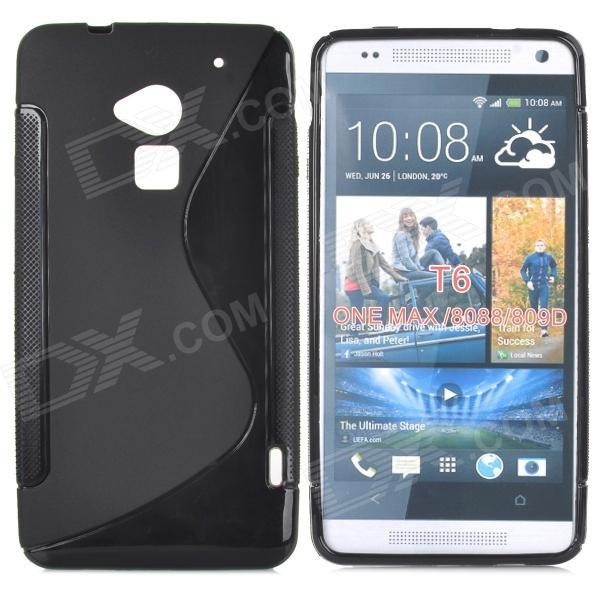 Protective TPU Back Case for HTC One Max / T6 / 8088 / 8090 - Black stylish s pattern protective tpu back case for htc one max t6 8088 809d blue
