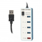 BYL-3011 4-Port USB3.0 Hub + 1-Port USB2.0 Charging - White + Blue