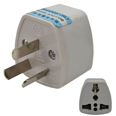 3-Pin AU / US / UK / EU to AU Travel Power Plug Adapter - White