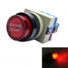 Jtron DIY Car Button Switch with LED Red Light OFF-(ON) - Black (12V / 20A)