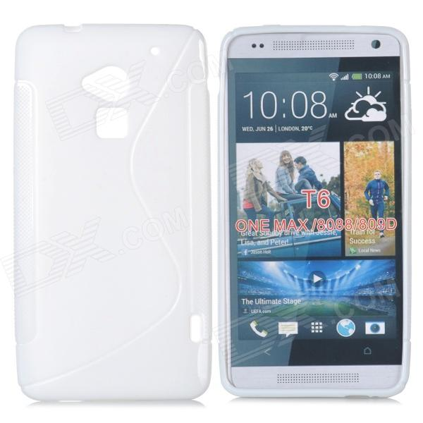 S Pattern Protective TPU Case for HTC ONE MAX T6 / 8088 / 809D - White stylish s pattern protective tpu back case for htc one max t6 8088 809d blue