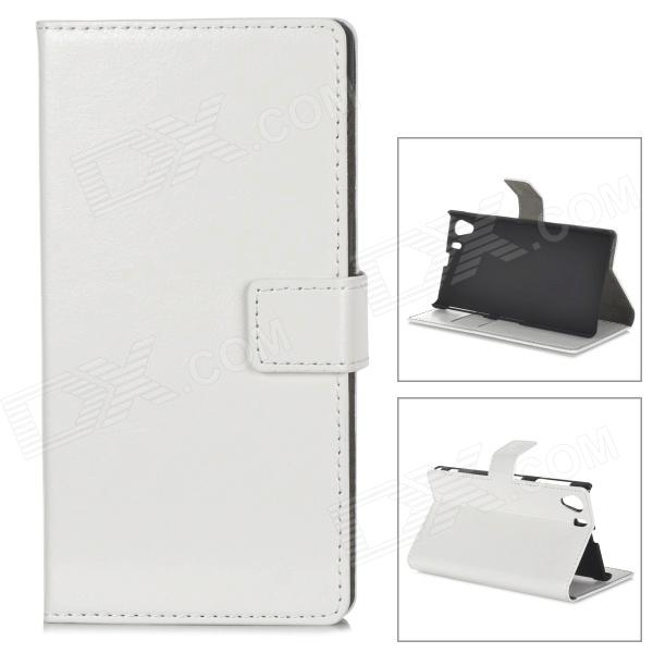 где купить Protective PU Leather Case for Sony Xperia Z L39H - White дешево