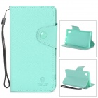 Cross Pattern Protective PU + TPU Case w/ Holder / Strap for Sony Xperia Z1 / L39h