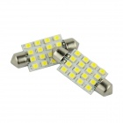 WalangTing Festoon 41mm 5W 450lm 16 x SMD 1210 LED hvit bil Dome Light - (DC 12V / 2 PCS)