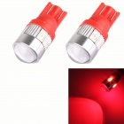 T10 3W 144lm 6 x 5630 LED SMD Red Car sinal de luz w / Lens - (DC 12V / 2 PCS)