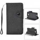 Cross Pattern Protective PU + TPU Case w/ Holder / Strap for Sony Xperia C S39h