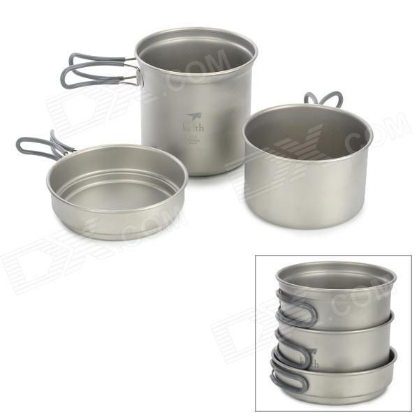 Keith Kp6014 2 ~ 3 Person Titanium Pot Set - Silber (3 PCS)