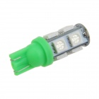 T10 / 194 / W5W 2W 200lm 9 x SMD 5050 LED Green Car Side Light / Signal / Reading lamp - (12V)